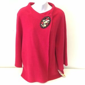 NWT JM Collection boiled wool knit bead cardigan M